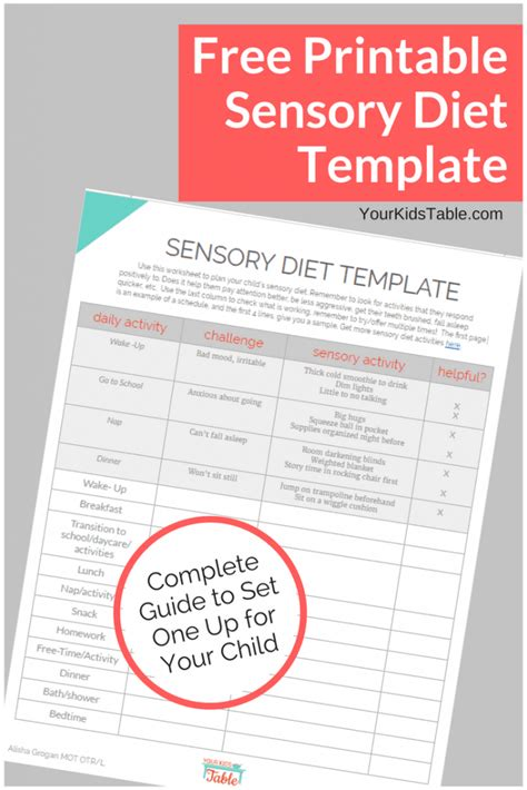 diet card template easy to use sensory diet template with a free pdf your