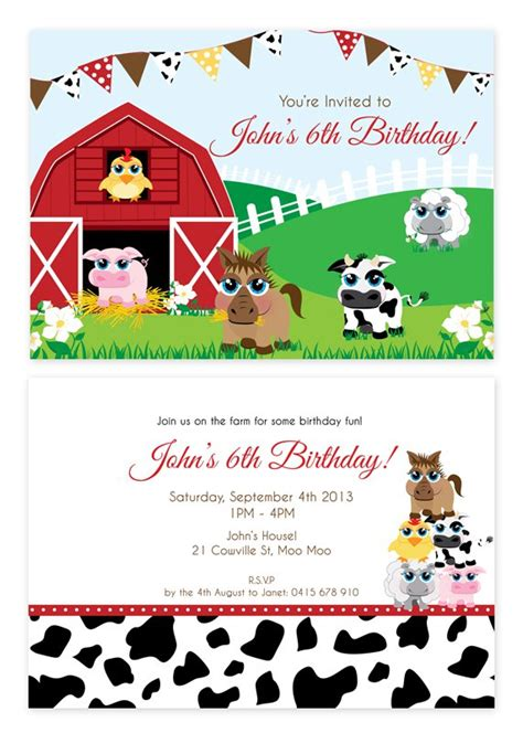 Farm Animal Party Invitations Farm Animal Invitation Templates Free