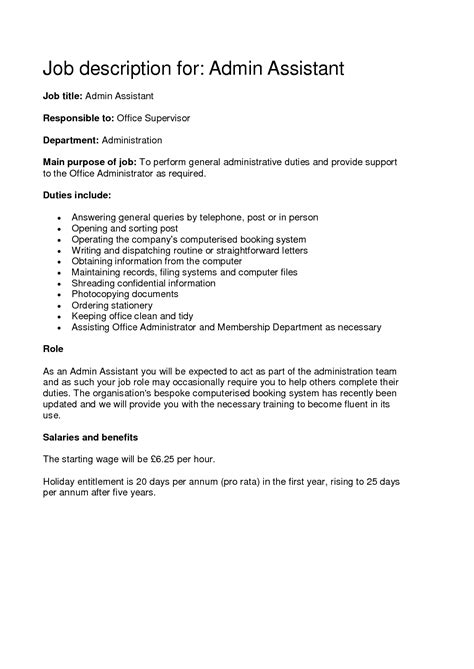 administrative assistant description sle administrative assistant duties for resume