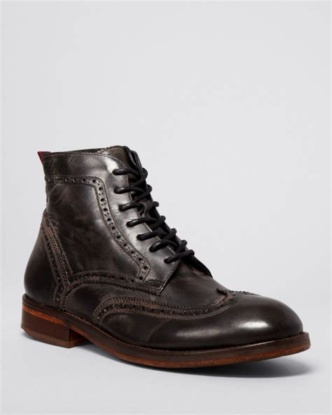 mens wingtip boots h by hudson leather wingtip boots in black for