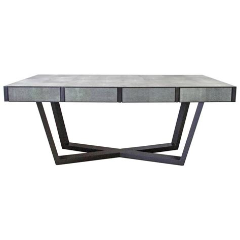 Dining Table Items Faux Shagreen Leather And Wood Dining Table By Fabio Bergomi For Sale At 1stdibs