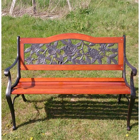 metal and wood garden bench lyon garden bench in wood metal the garden factory