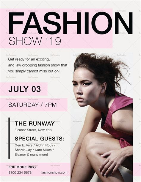 Fashion Show Flyer Design Template In Psd Word Publisher Illustrator Indesign Fashion Flyer Template