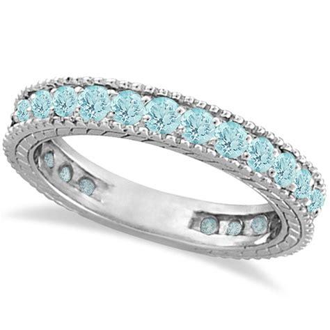 aquamarine eternity ring anniversary band 14k white gold 1