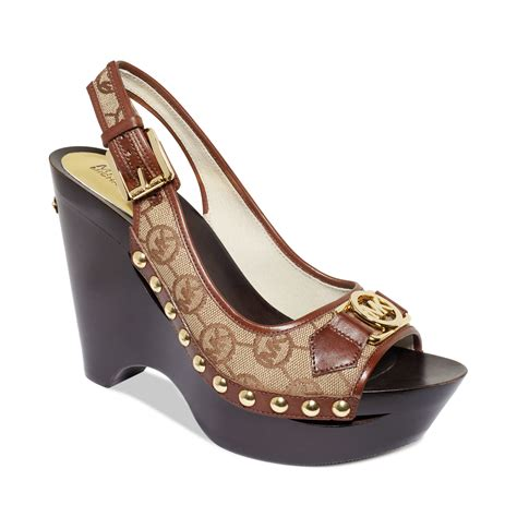 michael kors platform wedge sandals michael kors charm platform wedge sandals in brown