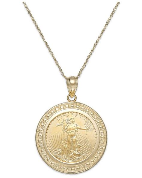 macy s genuine eagle coin pendant necklace in 22k and 14k