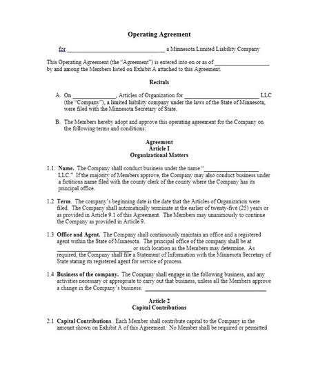 30 professional llc operating agreement templates