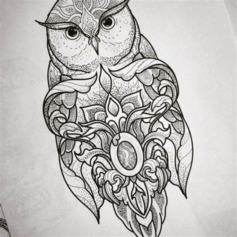 owl tattoo dotwork fantastic detailed dotwork owl tattoo design