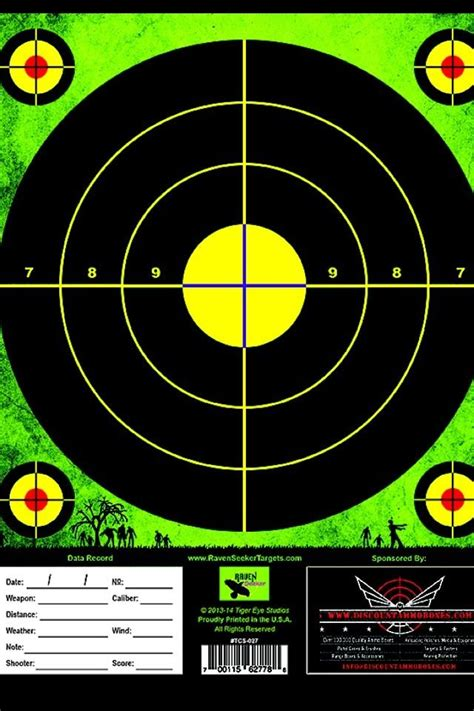 printable shooting targets uk zombie green shooting target 25 pack 8x11 perfect for