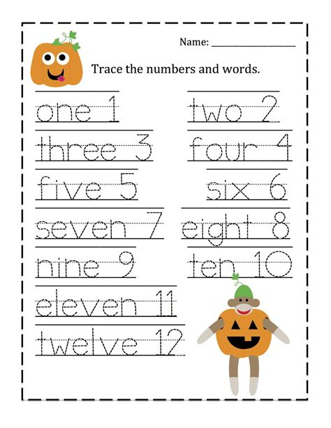 Tracing Numbers 1 10 Worksheets Kindergarten by Free Coloring Pages Of Trace Number One