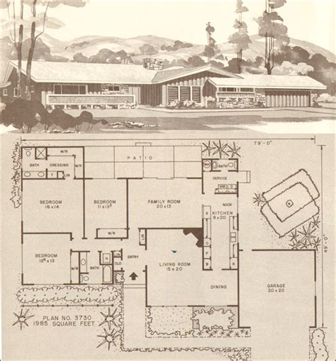 1960s ranch house plans mid century ranch house plans design no plan no 3730 hiawatha t estes mid century