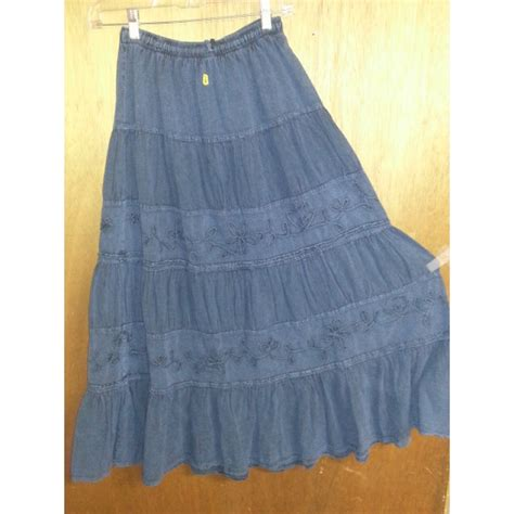 tiered denim skirt with floral detail