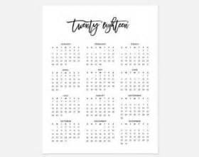 Calendar 2018 Printouts Printable One Page Calendar 2018 Ready To Print Calendar