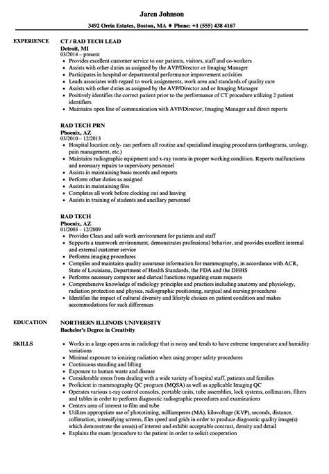 rad tech resume fiveoutsiders