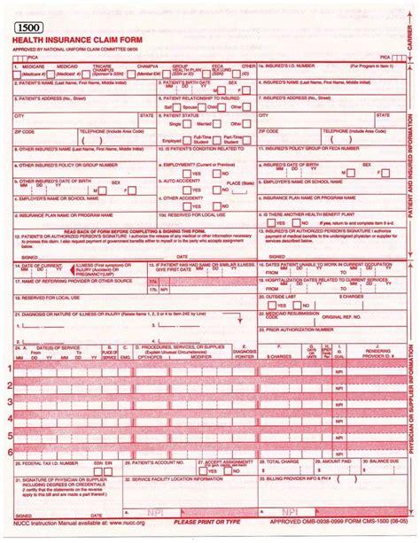Cms Hcfa 1500 08 05 Health Insurance Claim Forms 25 Sheets Ebay Cms 1500 Template Pdf