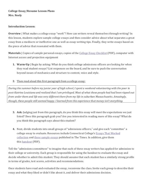 college level lesson plan template college essay lesson plan