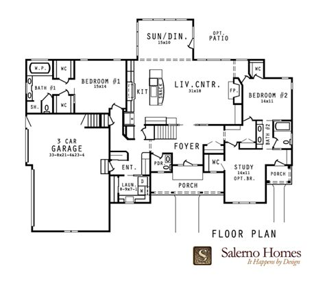 open concept design 7426rd 1st floor master suite cad floor plans of custom build homes from salerno homes llc