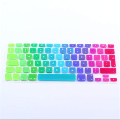 Keyboard Cover Skin For Macbook 17 With Mac Proair Gradient Color rainbow silicone laptop keyboard cover skin for apple