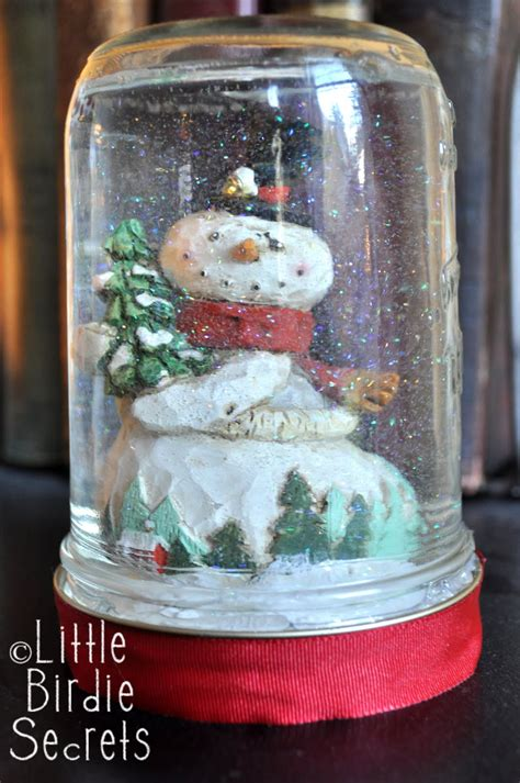 Handmade Snow Globes - how to make snow globe birdie secrets