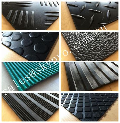 embossed non slipping rubber flooring mat with variable colors and textures