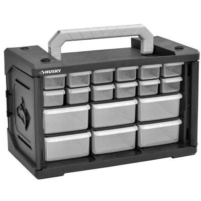 husky mobile pro organizer with 18 small parts drawer