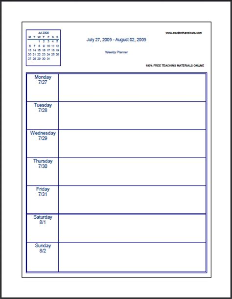 printable agenda pages for students free blank printable weekly school planner student handouts
