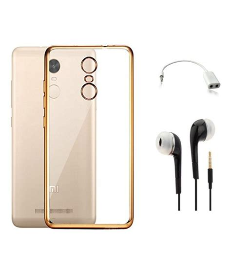Earphone Xiaomi Redmi Note tidel combo of plain back cover for xiaomi redmi note 3 with earphone audio splitter golden