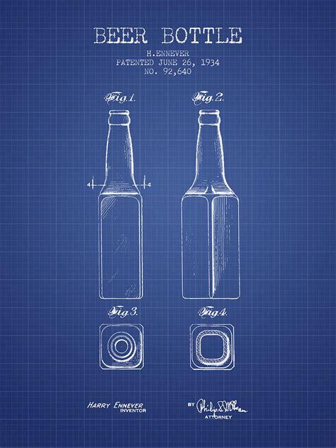 beer bottle patent   blueprint digital art