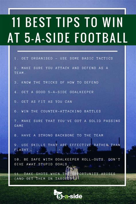 best tips football 11 best tips to win at 5 a side football 5 a side