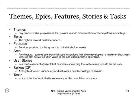 themes epics user stories project management in agile organizations agile requirements