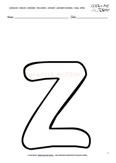 coloring pages of small letters alphabet small letter coloring page z