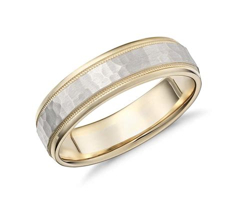 Wedding Rings Yellow And White Gold by Hammered Milgrain Comfort Fit Wedding Ring In 14k Yellow