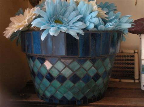 blue stained glass mosaic flower pot
