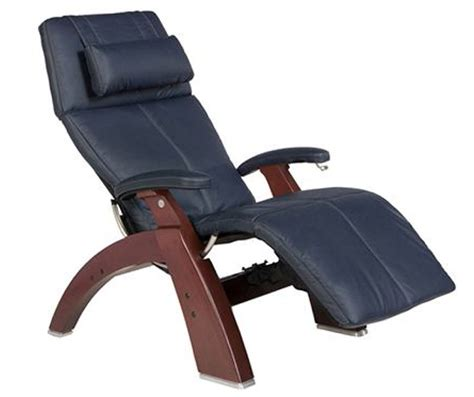 Navy Blue Leather Recliner Chairs Navy Blue Top Grain Leather Chestnut Wood Base Series 2