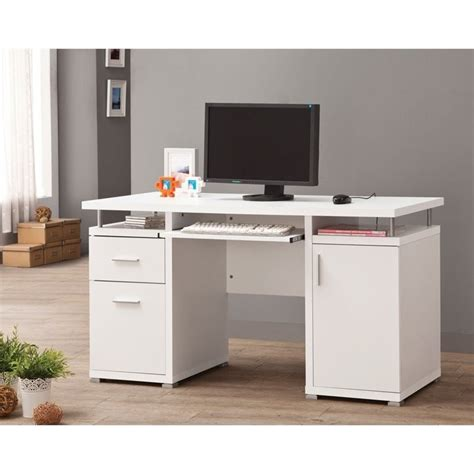 Coaster Computer Desk In White 800108 Cymax Computer Desk
