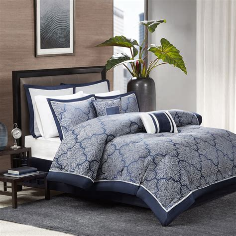 blue gray comforter set beautiful modern chic elegant blue navy silver grey scroll
