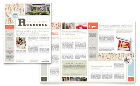 Real Estate Home For Sale Newsletter Template Word Publisher Publisher Newsletter Templates Free