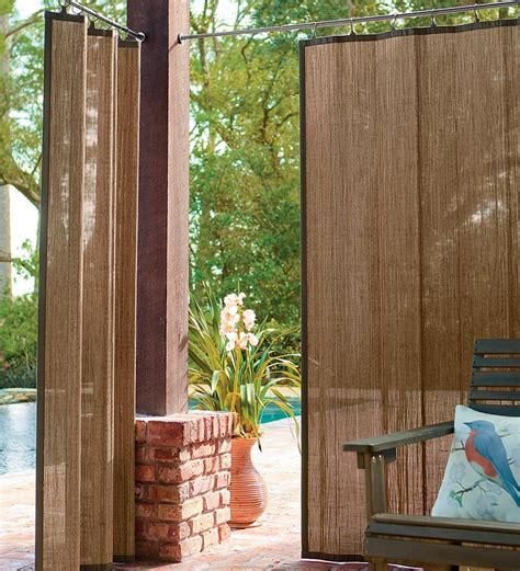Curtains On Patio Outdoor Bamboo Curtain Panel 40 Quot W X 84 Quot L Porch Patio Curtains