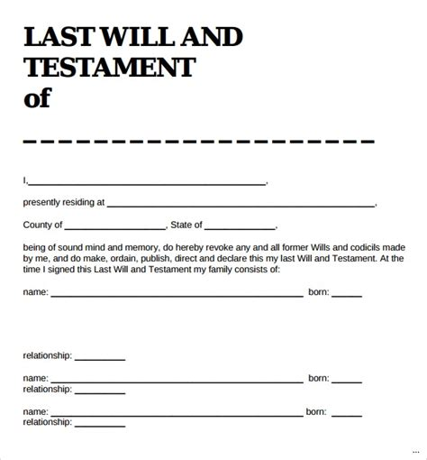 Sle Last Will And Testament Form New Vision Marevinho Simple Will Template