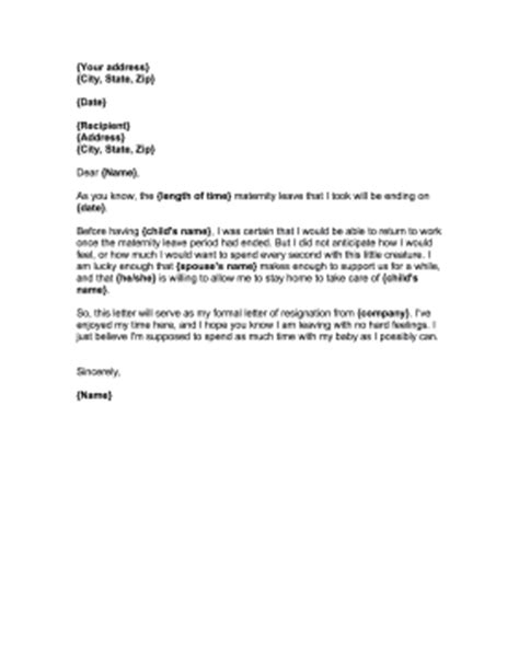 Parent Letter Returning From Maternity Leave Resignation Letter After Maternity Leave