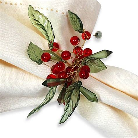 holly leaf with berries napkin ring set of 4 bed bath
