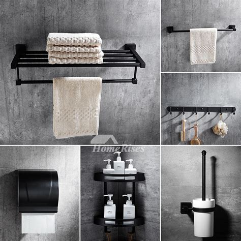 6 Piece Black Bathroom Accessories Sets Wall Mount Wall Mounted Bathroom Accessories Sets