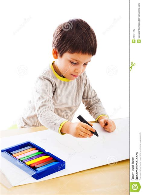 Kid Drawing Picture Kid Drawing In Colors Stock Photo Image Of Message Sketch 28771380