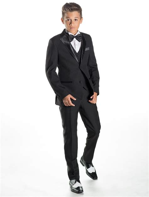 Black Formal Style Suit 41444 boys black tuxedo boys black prom suits boys wedding