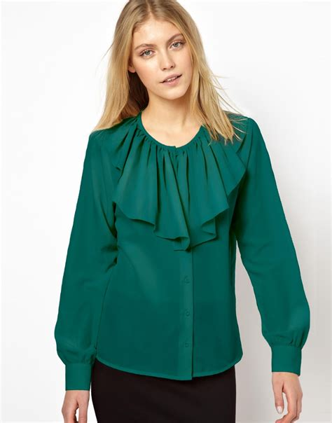 Asos Ruffle Front Blouse lyst asos blouse with ruffle front in green