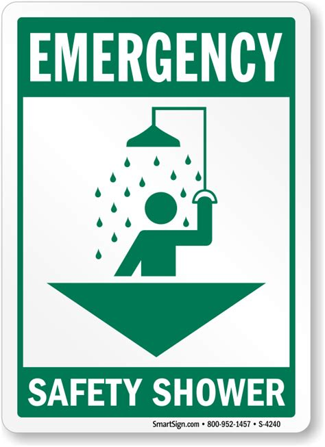 Shower Safety by Emergency Safety Shower With Arrow And Graphic Sign Sku