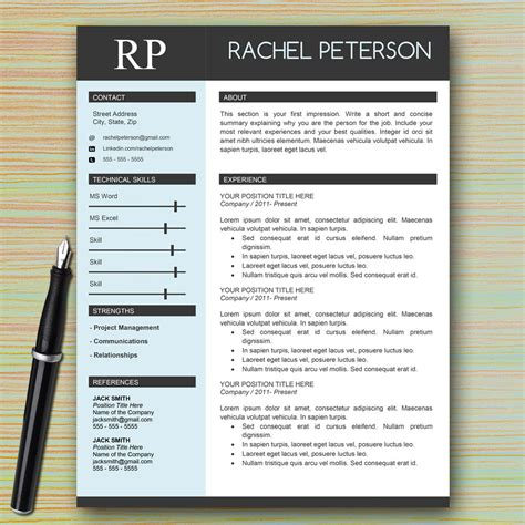 cv one page template professional one page resume template for microsoft word
