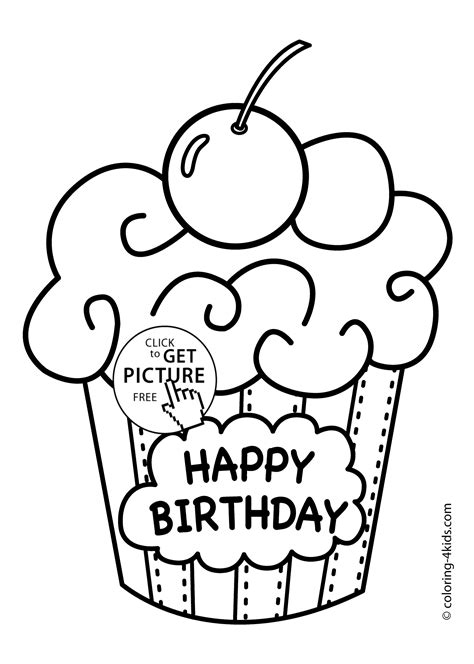 happy birthday coloring pages for teachers cake happy birthday party coloring pages muffin coloring