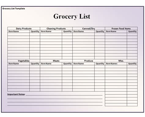 grocery shopping list template excel grocery list template free formats excel word