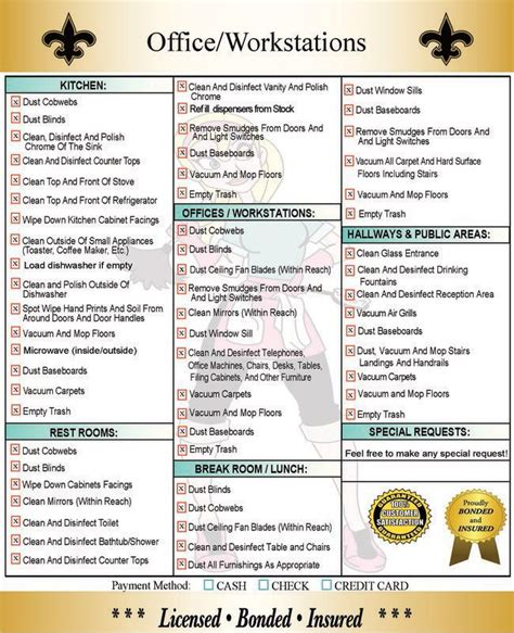 Post Office Schedule by House Cleaning Checklist Daily Weekly Monthly